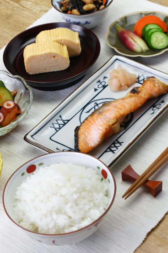 Japanese traditional healthy breakfast set meal