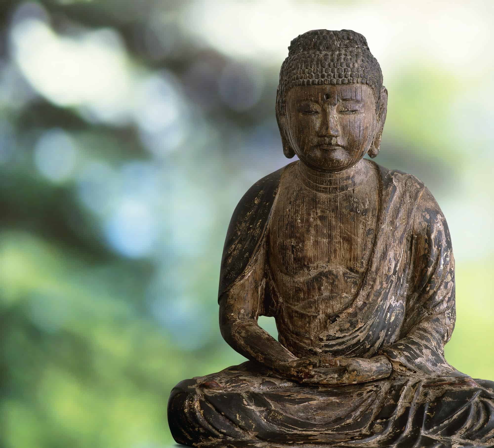Wooden Buddha on green forest background