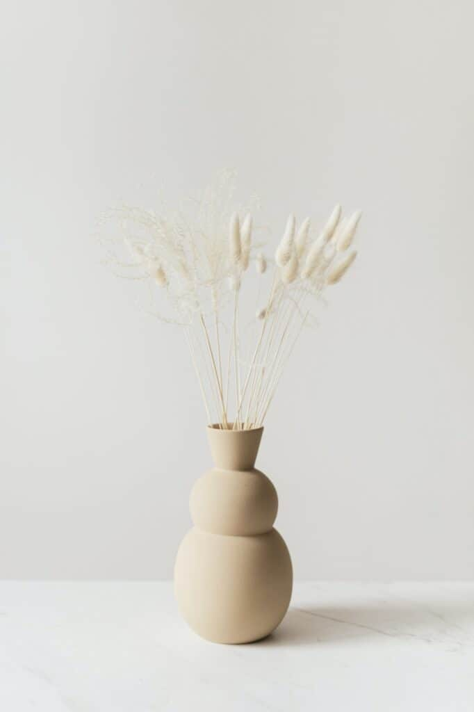 Dried Bunny Tail grass in abrown vase