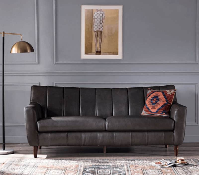 Bowery Hill Channel Back Leather Sofa