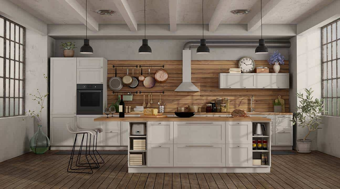 How Add warmth to a black and white kitchen