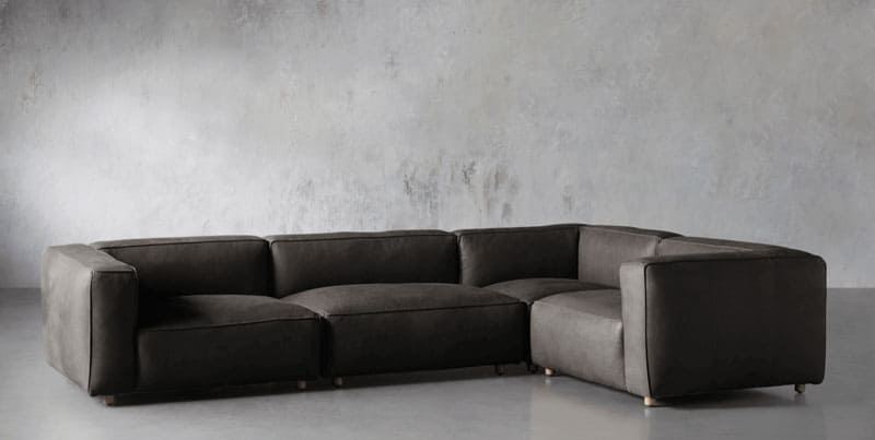 Madrone leather four-piece sectional