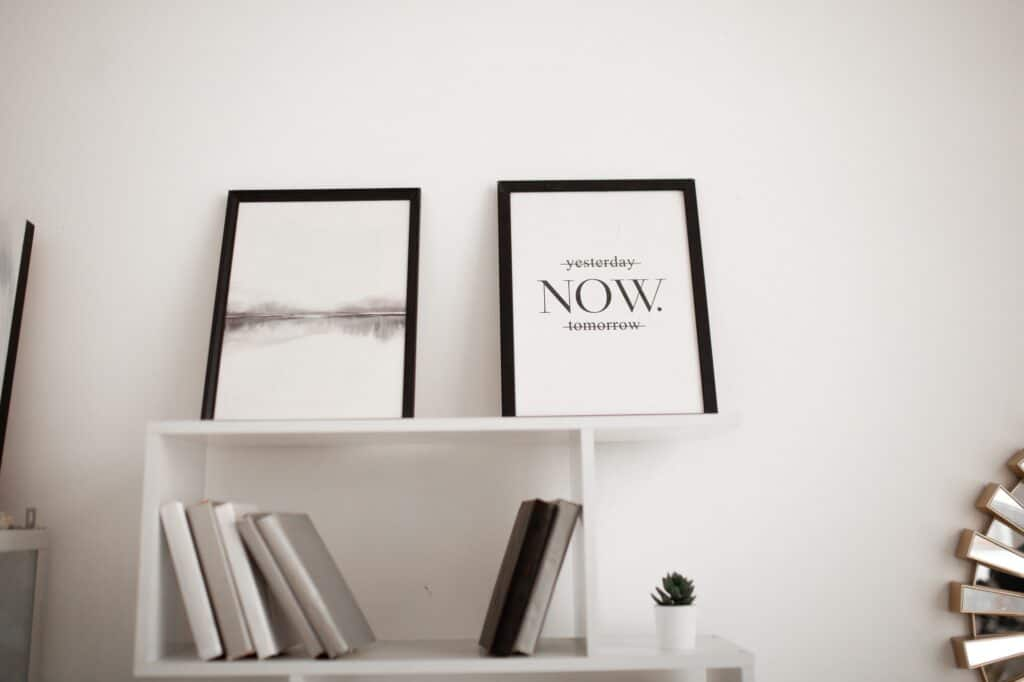 painting with motivational phrase, minimalistic black and white home decor
